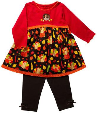 Good Lad Girls' Leggings BROWN - Red & Black Turkey Long-Sleeve Top & Black Leggings - Infant & Toddler