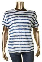 Lauren Ralph Lauren Womens Plus Linen Striped Casual Top
