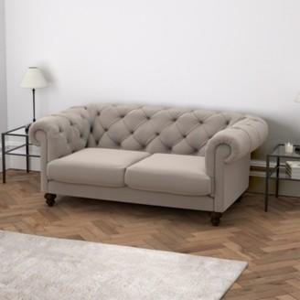 The White Company Hampstead 3 Seater Velvet Sofa, Stone Velvet, One Size