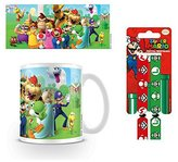 1art1® Set: Super Mario, Bros., Mushroom Kingdom Photo Coffee Mug (4x3 inches) And 1 Super Mario, wristband for collectors (4x1 inches)