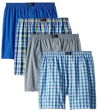 Jockey Active Blend Woven Boxer 4-Pack (Bold Plaid/Stripe Blue/Check/Stripe) Men's Underwear