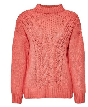 Dorothy Perkins Womens Coral Cotton Cable Jumper, Coral