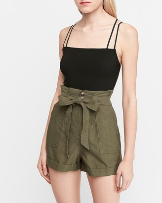 Express Super High Waisted Paperbag Cargo Shorts