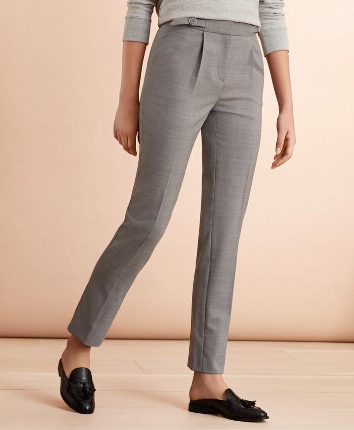 Brooks Brothers Wool-Blend Hopsack Pleated Pants