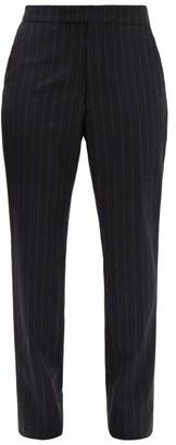 Raf Simons Pinstriped Wool Slim-leg Trousers - Black Grey