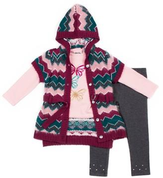 Little Lass Toddler Girl Chevron Hooded Cardigan, Graphic Tee & Leggings Set
