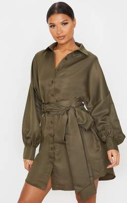 PrettyLittleThing Chocolate Belted Tie Shirt Dress