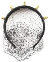 RED Valentino Studs And Veil Leather Headband