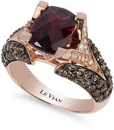 LeVian Le Vian® Raspberry Rhodolite® Garnet (3 ct. t.w.), Chocolate Diamonds® (1-1/5 ct. t.w.) and White Diamond Accent Ring in 14k Rose Gold