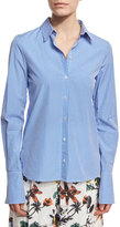 Tibi Slim-Fit Gingham Shirt, Blue/White