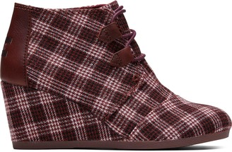 Toms Burgundy Vintage Check Women's Kala Booties