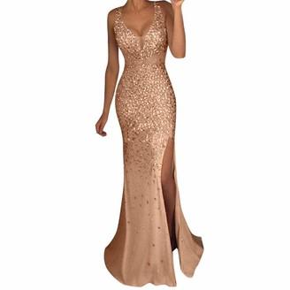 Wangjx Womens Long Deep V Skinny Sleeveless Sexy Sequin Maxi Evening Dress Prom Party Dress Ball Gown Evening Bridesmaid Long Dresses (Color : Gold Size : XL)
