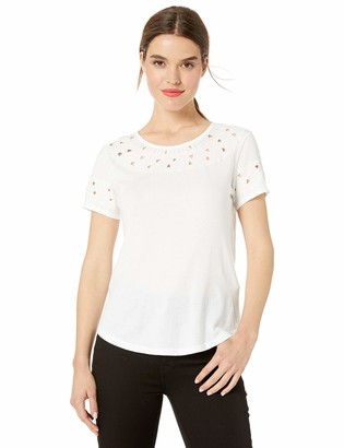 Lucky Brand Women's Embroidered Cut-Out TOP