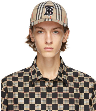 Burberry Beige Vintage Check TB Baseball Cap
