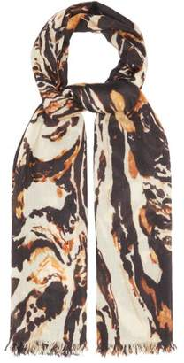 Raey Superfine Marbled Animal Print Cashmere Scarf - Womens - Brown Print