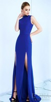 Mac Duggal High Neck Double Thigh Slit Column Evening Dress