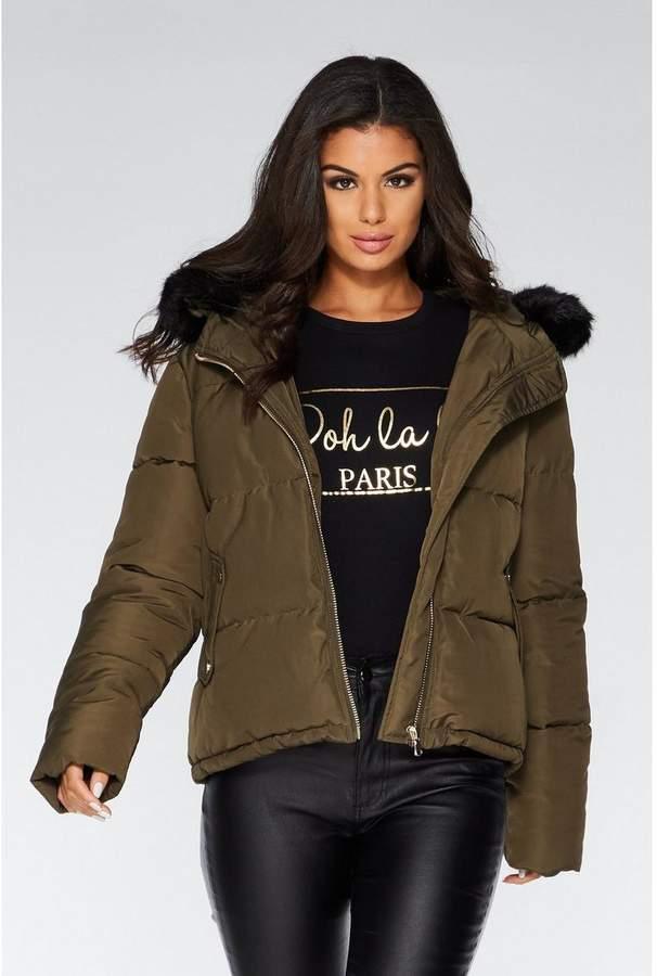 Quiz Khaki Faux Fur Hood Puffer Jacket