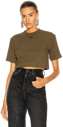 Off-White Rib Cropped Casual Tee in Military & White | FWRD