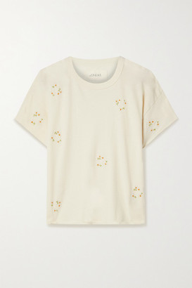 The Great The Crop Embroidered Cotton-jersey T-shirt - Off-white