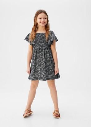 MANGO Ruffled printed dress