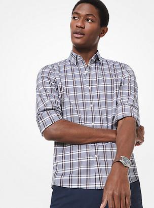 Michael Kors Slim-Fit Check Stretch-Cotton Shirt