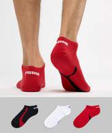 Puma 3 Pack Sneaker Socks In Red 201203001852