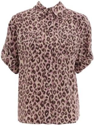 Zimmermann Super Eight Silk Safari Shirt in Candy Leopard