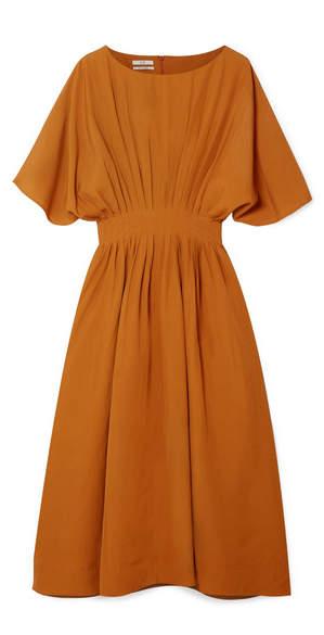 Co Pleated Broadcloth Midi Dress - Camel