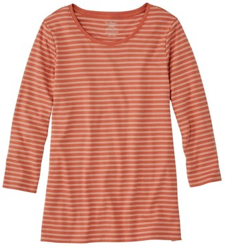 L.L. Bean Women's Pima Cotton Shaped Tee, Three-Quarter-Sleeve Jewelneck Stripe
