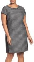 Ellen Tracy Plus Size Women's Embellished Jacquard & Ponte Sheath Dress