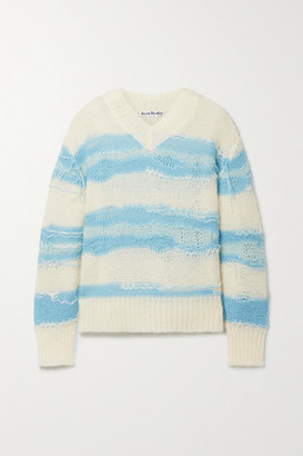 Acne Studios Distressed Striped Open-knit Sweater - Off-white