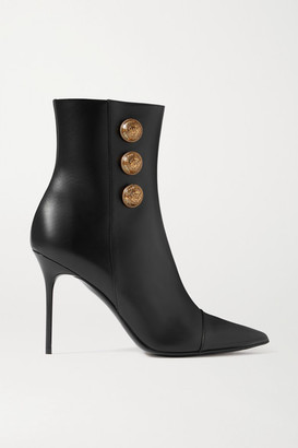 Balmain Button-embellished Leather Ankle Boots - Black