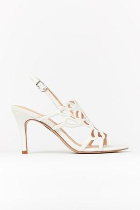 Wallis White Glitter Cage Front Heels