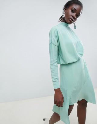 Asos Tuck Detail Mini Dress-Green