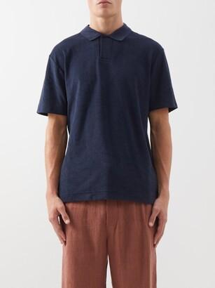 Sunspel Riviera Cotton-terry Polo Shirt - Navy