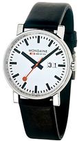 Mondaine A6273030311sbb Unisex Evo Big Date Leather Strap Watch, Black/white