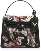 Valentino 'Animali Fantastici' Embroidered Calfskin Leather Satchel - Black