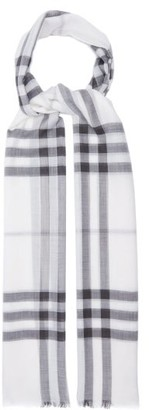 Burberry Giant Check Wool-blend Woven Scarf - White Print