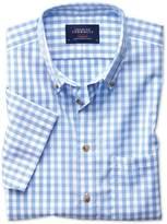 Slim Fit Button-down Non-iron Poplin Short Sleeve Sky Blue Gingham Cotton Shirt Single Cuff Size Medium By Charles Tyrwhitt