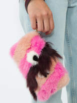 Anya Hindmarch Eyes stripe fluffy clutch bag