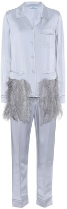 Prada Feather-trimmed satin pyjamas