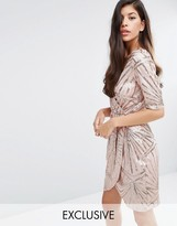 Club L Kimono Wrap Sequin Dress