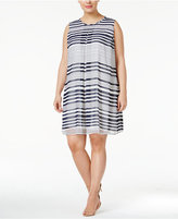 Calvin Klein Plus Size Striped Shift Dress