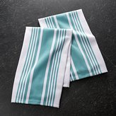 Crate & Barrel Set of 2 Cuisine Stripe Aqua Dish Towels