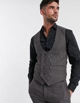 Asos Design DESIGN wedding super skinny suit suit vest in in charcoal tweed texture