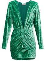 ATTICO The Iconic Karolina Crystal Velvet Mini Dress - Womens - Green