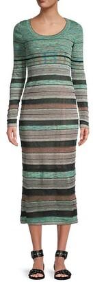 M Missoni Striped Ribbed Midi Dress