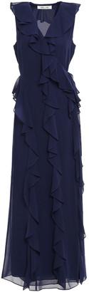 Diane von Furstenberg Ruffled Georgette Maxi Wrap Dress