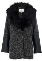 Quiz Grey Fur Collar PU Trim Jacket