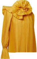Rosie Assoulin One-shoulder Pleated Poplin Top - Mustard